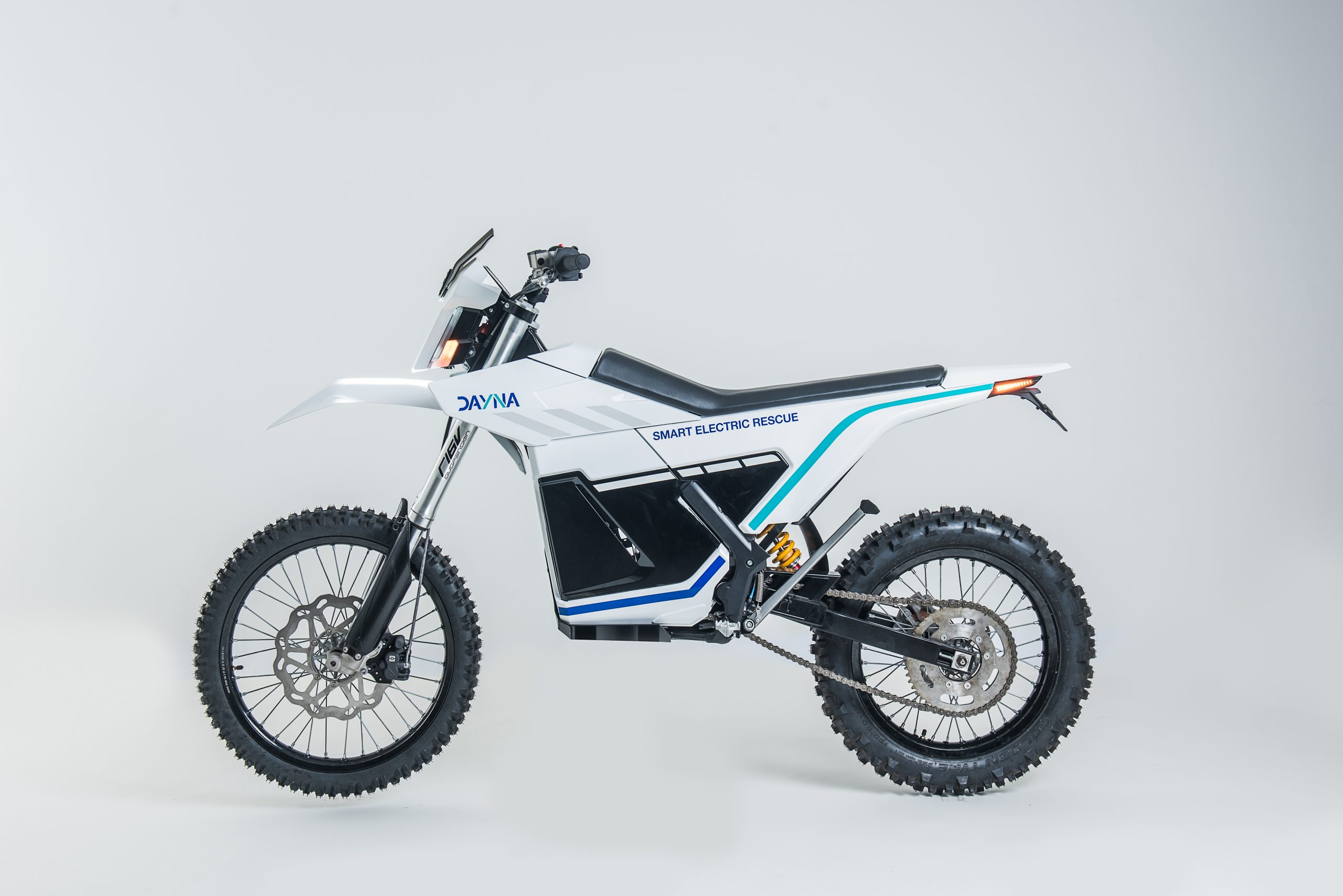 Mountain rescue motorcycle with 3D printed parts.